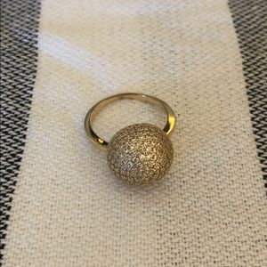 Golden pave dome ring